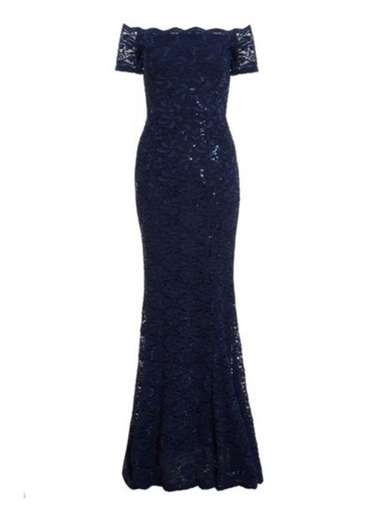 Womens *Quiz Navy Sequin Bardot Maxi Dress- Navy, Navy