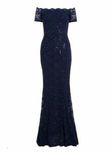 Womens *Quiz Navy Sequin Bardot Maxi Dress, Navy