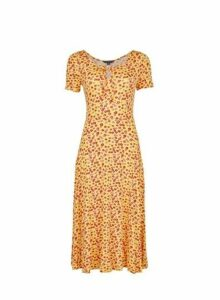 Womens Yellow Ditsy Floral Print Midi Dress- Yellow, Yellow