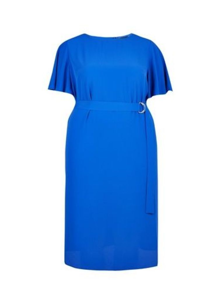 Womens **Dp Curve Cobalt Flutter Sleeve Midi Dress- Cobalt, Cobalt