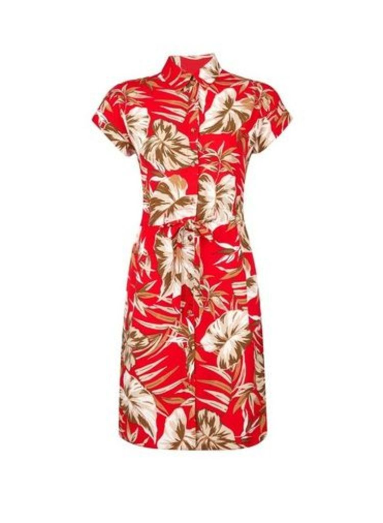 Womens Petite Red Tropical Print Shirt Dress- Red, Red
