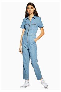 Womens Short Sleeve Denim Boiler Suit - Mid Stone, Mid Stone