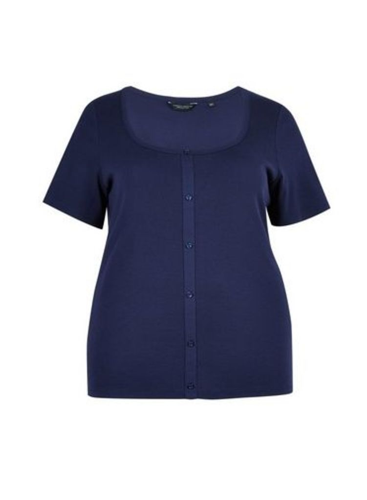 Womens **Dp Curve Navy Button Down T-Shirt- Blue, Blue