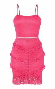 Hot Pink Lace Frill Skirt Bodycon Dress, Hot Pink