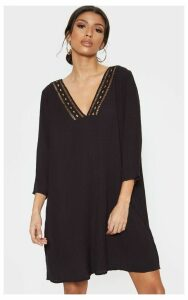 Black Crochet Trim Smock Dress, Black