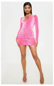 Neon Pink Square Neck Ruched Lace Up Velvet Bodycon Dress, Neon Pink
