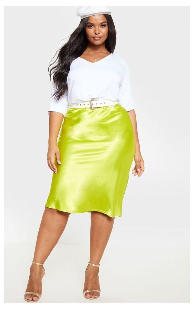 Plus Neon Lime Satin Midi Skirt, Neon Lime