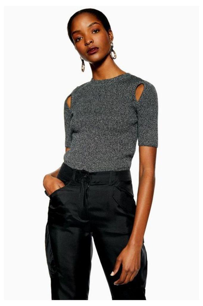 Womens Spliced Knitted T-Shirt - Monochrome, Monochrome