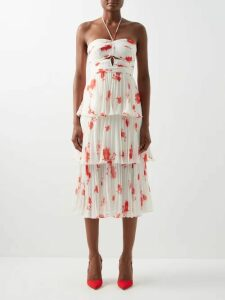 Marina Moscone - Single Breasted Basque Shaped Twill Blazer - Womens - Green