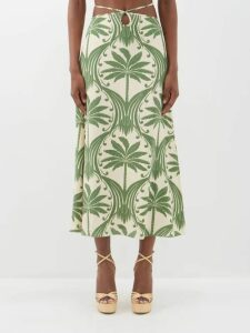 Marni - Iride Floral Print Cotton Midi Skirt - Womens - Blue Print