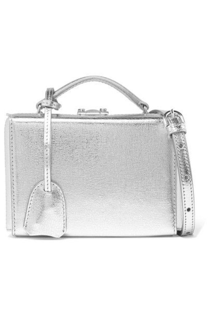 Mark Cross - Grace Small Metallic Cracked-leather Shoulder Bag - Silver