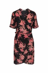 Womens Sofie Schnoor Black Floral Silk Wrap Dress -  Black
