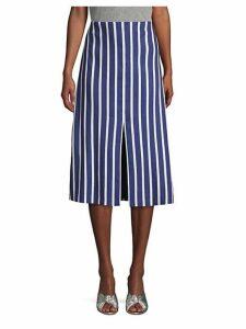 Striped Knee-Length A-Line Skirt
