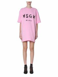 MSGM Dress With Brushed Print Logo
