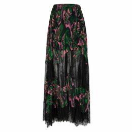 McQ Alexander McQueen Green Chiffon Skirt