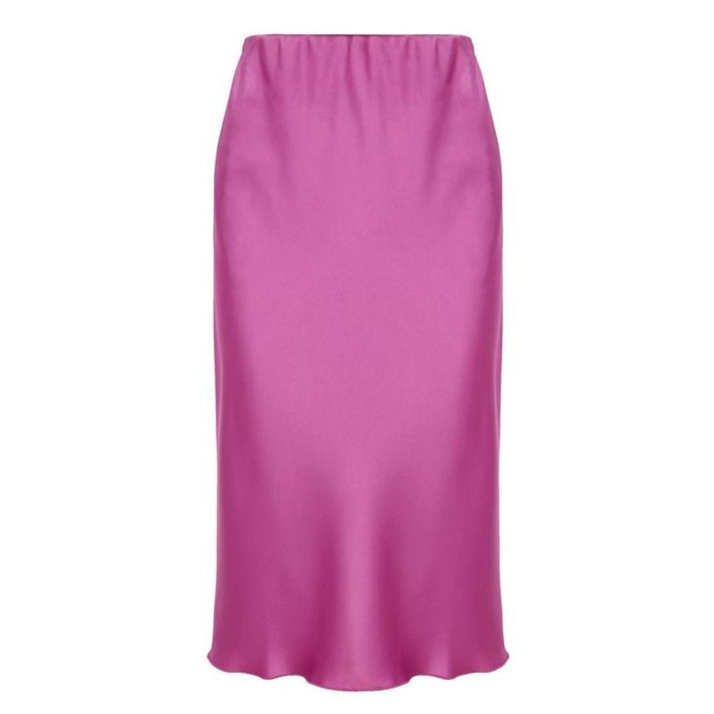 Nanushka Zarina Fuchsia Satin Midi Skirt