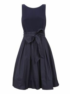 Blue Jersey And Taffeta Dress