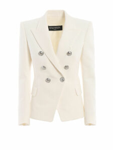 Balmain Cotton Natte Double-breasted White Blazer