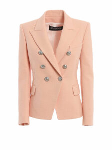 Balmain Cotton Natte Double-breasted Pink Blazer
