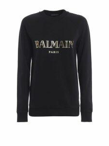 Balmain Gold-tone Balmain Logo Print Black Sweatshirt