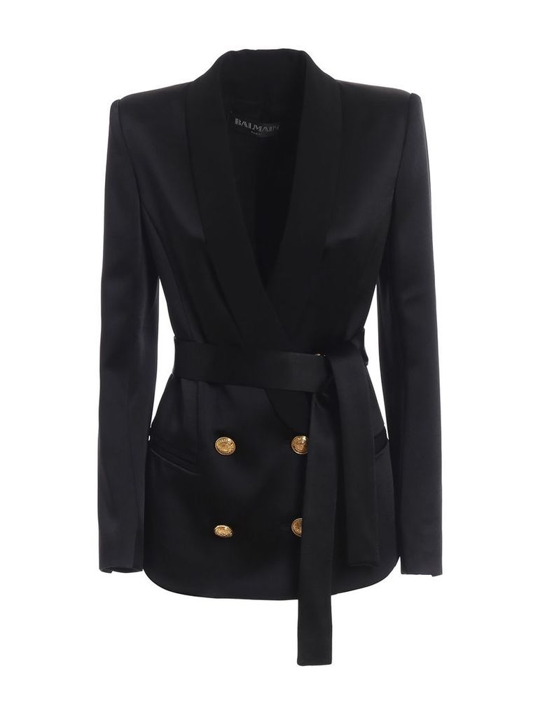 Balmain Shawl Collar Satin Double-breasted Blazer