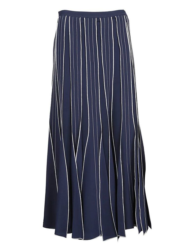 Tory Burch Pleated Embroidered Skirt