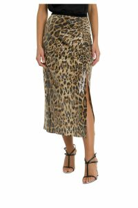 In The Mood For Love Leopard Print Sequined Skirt With Slit