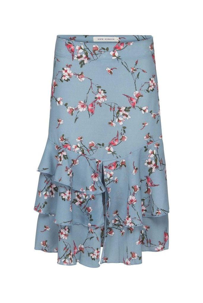 Womens Sofie Schnoor Blue Floral Print Skirt -  Blue