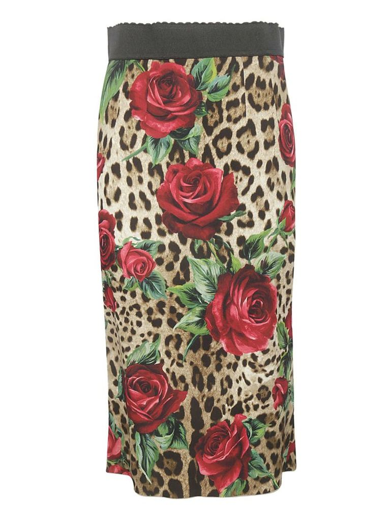 Dolce & Gabbana Jungle And Floral Pencil Skirt
