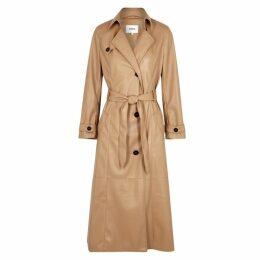 Nanushka Chiara Camel Vegan Leather Trench Coat