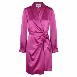 Nanushka Siwa Fuchsia Satin Wrap Dress