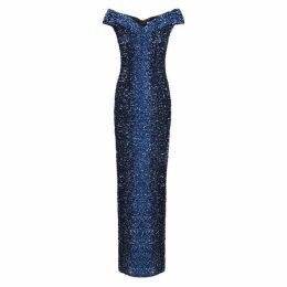 Pamella Roland Navy Degradé Sequin Gown