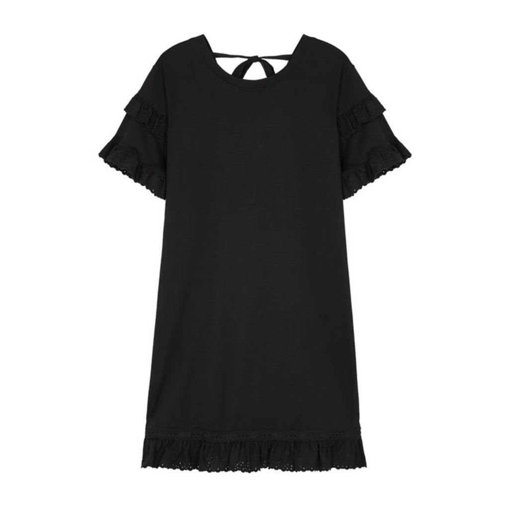 McQ Alexander McQueen Black Ruffle-trimmed Jersey Dress