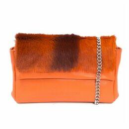 SHERENE MELINDA Orange Sophy Springbok Leather Clutch Bag With A Stripe