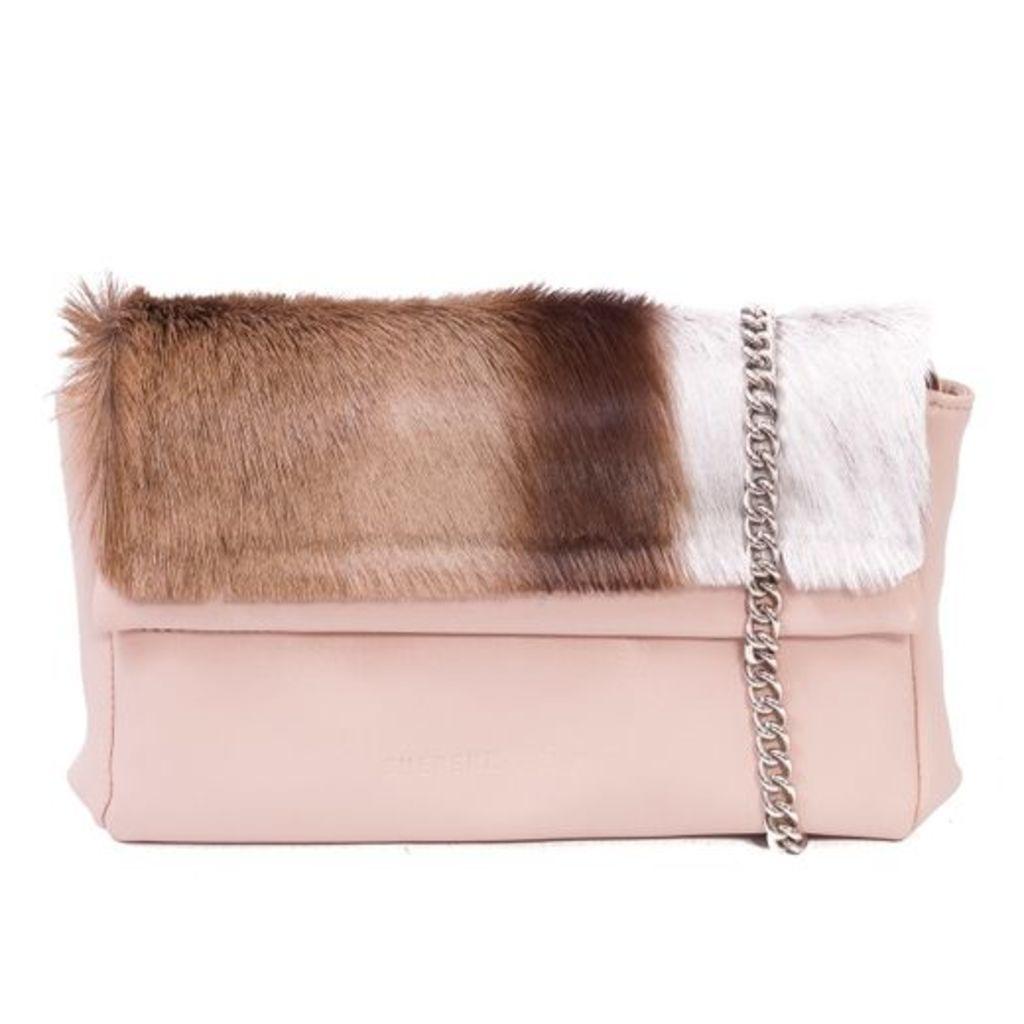 SHERENE MELINDA Nude Sophy Springbok Leather Clutch Bag With A Stripe