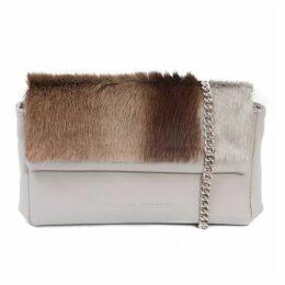 SHERENE MELINDA Earth Sophy Springbok Leather Clutch Bag With A Stripe