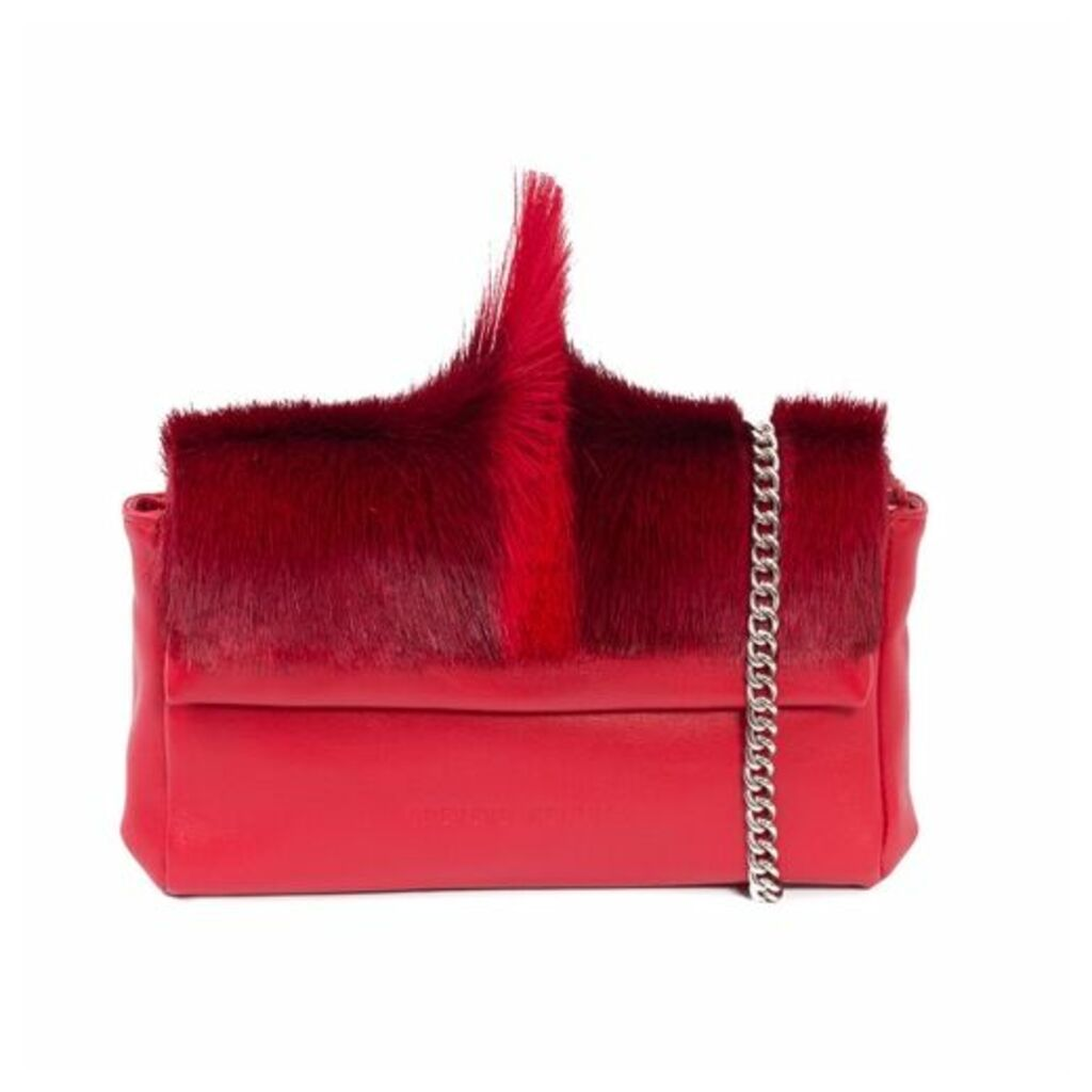 SHERENE MELINDA Red Sophy Springbok Leather Clutch Bag With A Fan