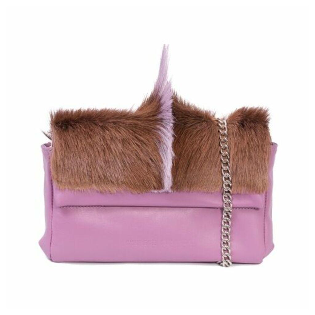 SHERENE MELINDA Lavender Sophy Springbok Leather Clutch Bag With A Fan