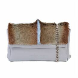 SHERENE MELINDA Baby Blue Sophy Springbok Leather Clutch Bag With A Fan