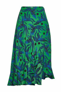 Kenzo Printed Silk Skirt with Asymmetric Hem