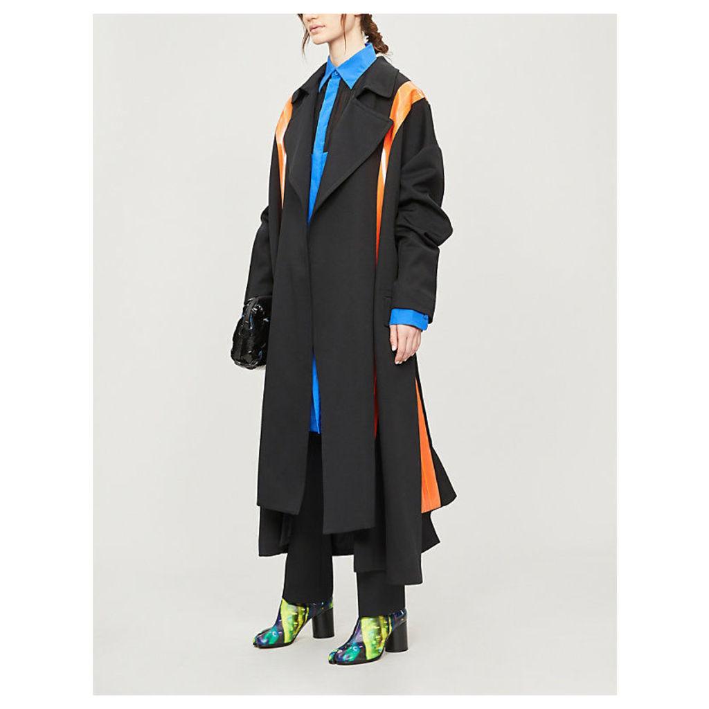 Belt-embellished woven coat