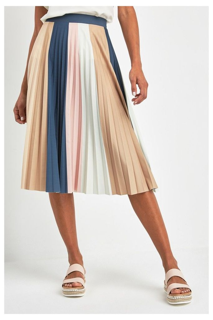 Womens Next Cream Stripe Pleated Skirt -  Nude