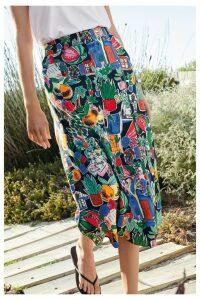 Womens Next Conversational Print Button Through Skirt -  Black
