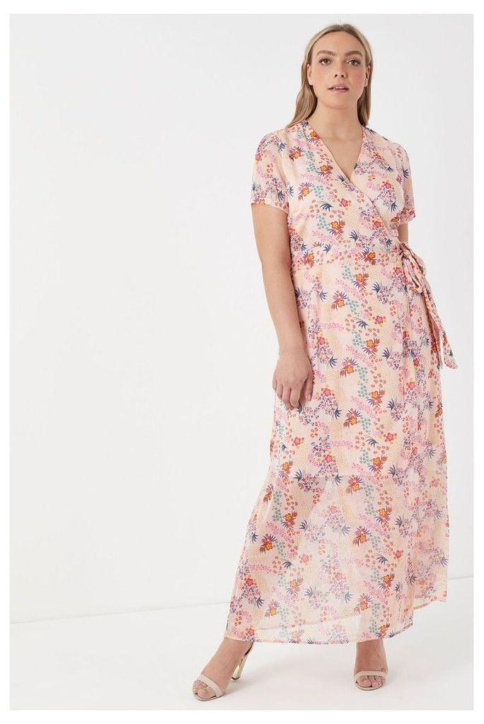 Womens Glamorous Curve Floral Midi Dress -  Pink