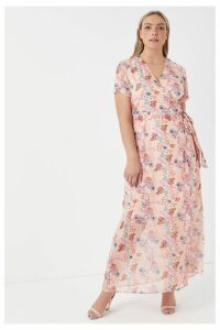 Womens Glamorous Curve Floral Midi Dress -  Pink