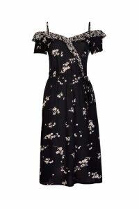 Womens Dorothy Perkins Ditsy Wrap Dress -  Black