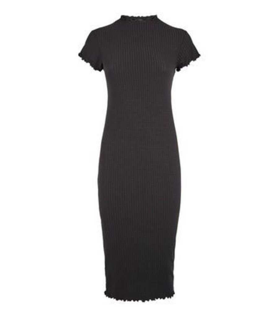 Black Ribbed Frill Trim Midi Bodycon Dress New Look