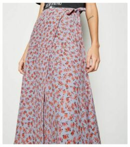 Pale Blue Floral Wrap Midaxi Skirt New Look