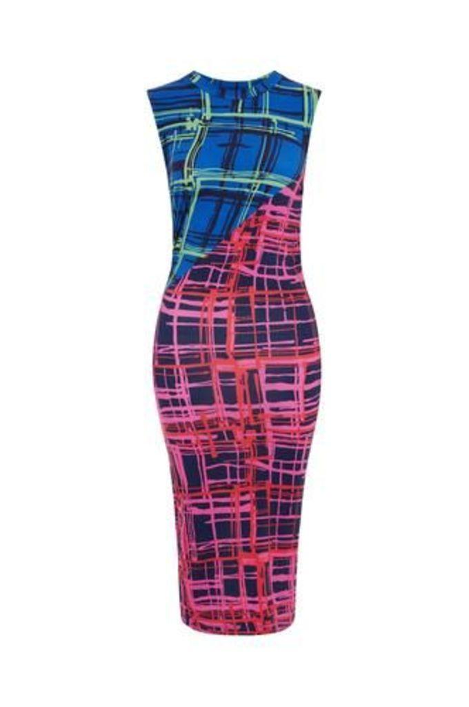 Cotton Jersey Sleeveless Check Panelled Twist Dress