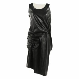 Leather mid-length dress